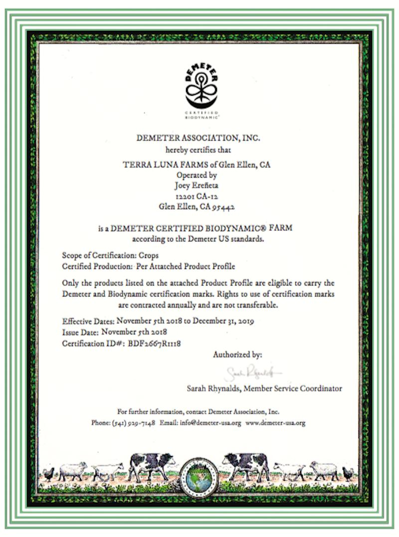 Terra Luna's demeter certification